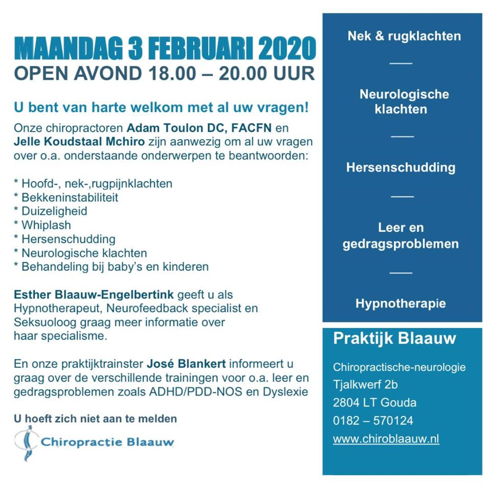 Chiropractie Blaauw open avond maandag 3 february 2020